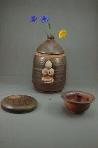 H-3-1焼締大長仏3変化花器壺付き阿弥陀如来座像付き骨壷7号花器としてお花を生けて楽しむ。お花を生けるときは仏様は後ろに向けて!