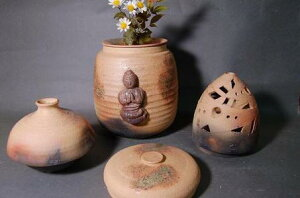 H3-3焼き締め骨壺大長4変化阿弥陀如来座像付き香炉、花器、壺付き7号
