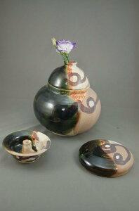 B-3鳴海織部大丸壺花器骨壷3変化で使用出来る7号壺としてお花が生けられます