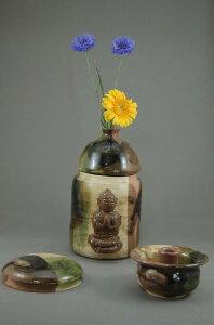 A-5鳴海織部小長仏3変化花器壺付き、阿弥陀如来座像付き骨壷5号美術品として、又実際に花を生けたり、生前に楽しみ、最後に自分が愛用したものが骨壷として使用出来ます。