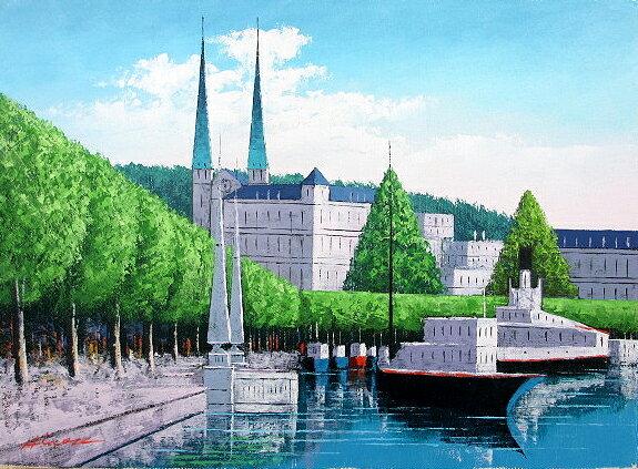 油絵 肉筆絵画 P20サイズ 「ルツェルン」 広瀬 和之 木枠付 -新品:絵画 掛軸 額縁屋 TOUO