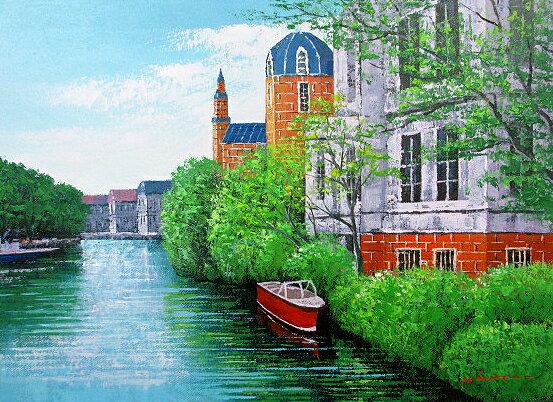 油絵 肉筆絵画 M20サイズ 「ブルージュ」 広瀬 和之 木枠付 -新品:絵画 掛軸 額縁屋 TOUO