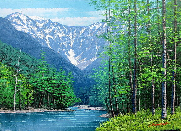 油絵 肉筆絵画 M20サイズ 「穂高連峰」 広瀬 和之 木枠付 -新品:絵画 掛軸 額縁屋 TOUO