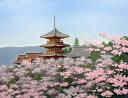 油絵 肉筆絵画 F6サイズ 「清水寺に桜」 朝隈 敏彦 木枠付 -新品