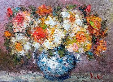 油絵 肉筆絵画 F20サイズ 「薔薇1 (花瓶) 横」 渡部 ひでき 木枠付 -新品