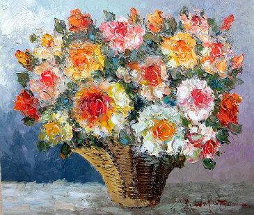 油絵 肉筆絵画 F20サイズ 「薔薇1 (かご) 横」 渡部 ひでき 木枠付 -新品