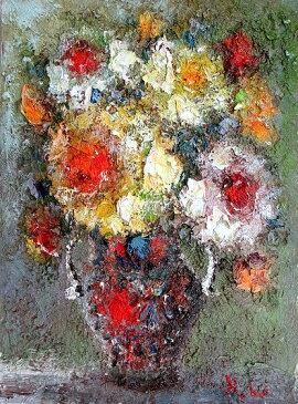 油絵 肉筆絵画 F20サイズ 「薔薇2 (花瓶) 縦」 渡部 ひでき 木枠付 -新品