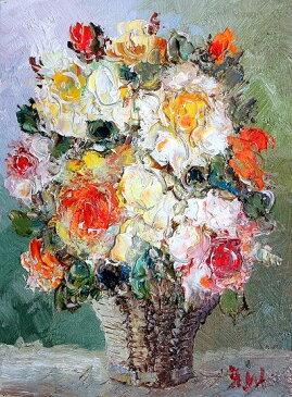 油絵 肉筆絵画 F20サイズ 「薔薇2 (かご) 縦」 渡部 ひでき 木枠付 -新品