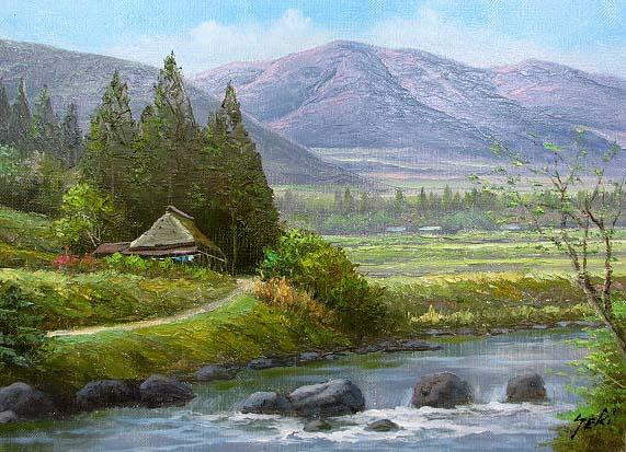 油絵 肉筆絵画 F12サイズ 「山村清流1」 関 健造 木枠付 -新品:絵画 掛軸 額縁屋 TOUO