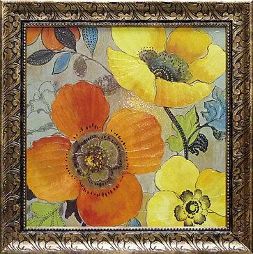 額縁付き 絵画 アートフレーム アリソン ピアス「イエロー アンド オレンジ ポピーズ1」 AP-11003-新品
