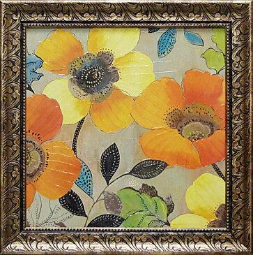 額縁付き 絵画 アートフレーム アリソン ピアス「イエロー アンド オレンジ ポピーズ2」 AP-11004-新品