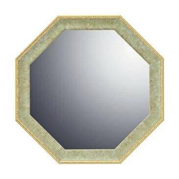 インテリア 開運鏡 風水 ヴィンテージ八角ミラー「グリーン(Sサイズ)」 VM-02003-新品