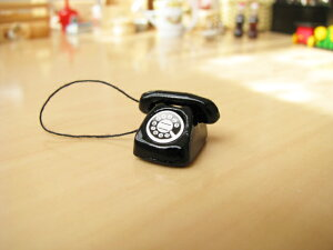 ミニチュア雑貨黒電話[21009]画像