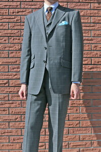 THEODOREの春夏秋段返り3つボタンスリーピースミディアムグレーファンシーチェック【チェンジポケット付】【ベスト抜き可】1318