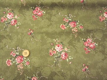 【布地 綿生地】ルシアン布地 ジョセフィンローズ コレクション 薔薇レース地花柄 カーキー 183L4d