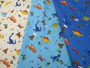 50cm単位販売 /生地布地/入園入学用品製作に/男の子用袋物に カラフル恐竜柄 CBプリント 3色 208N5