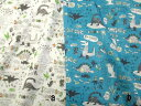 50cm単位販売/生地/布地/ダブル(二重)ガーゼ布地/ 恐竜柄ダブルガーゼ 2色 203KW9