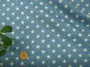 【生地 ダブル(二重)ガーゼ布地】 ダブルガーゼデニム風 星(スター)柄プリント生地 ブルー 198W4b