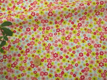 【リバティー風 綿生地 布地 】 カラフルかわいい小花柄 ピンク 203E2a