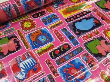 オイルクロス(ビニールクロス) キッズ柄 ピンク【メール便1m可】|レッスンバッグ|シューズ入れ|巾着袋|バッグ|水着入れ|ポーチ|ペンケース|ランドセルカバー|プールバッグ|エコバッグ|ボトルケース|レジャーシート|テーブルクロス|トートバック|ランチバック|