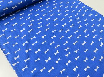 リボンシルエット ブルー青 オックス生地【メール便2m可】|生地|布地|綿|コットン|エプロン|ワンピース|スカート|小物|携帯ケース|ポーチ|インテリア|クラフト|ソーイング|ハンドメイド|手作り|手芸|通販|安い|北欧風|リボン柄長期継続品|