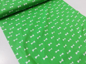 リボンシルエット グリーン緑 オックス生地【メール便2m可】|生地|布地|綿|コットン|エプロン|ワンピース|スカート|小物|携帯ケース|ポーチ|インテリア|クラフト|ソーイング|ハンドメイド|手作り|手芸|通販|安い|北欧風|リボン柄長期継続品|