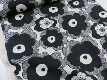 綿麻 マリメッコ風大きな花柄 ブラック黒 キャンバス生地【メール便2m可】コットンこばやし|北欧風|リネン|生地|布地|コットンリネン|麻|エプロン|スカート|小物|バッグ|インテリア|ソーイング|洋裁|