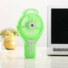 【ミニ扇風機】【カラー:グリーン(緑)】ハンディミストファンLILENG-853ミストとファンで瞬間冷却、繰り返し充電できる内蔵バッテリーだから乾電池要らず!