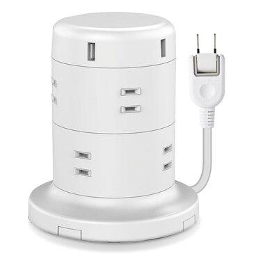 エレコム ELECOM 電源タップ 8個口 2P 雷サージ トラッキング防止 ほこり防止 USBポート付き タワー型 2m ホワイト ECT-0620WH