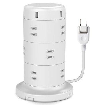 エレコム ELECOM 電源タップ 12個口 2P 雷サージ トラッキング防止 ほこり防止 USBポート付き タワー型 2m ホワイト ECT-0720WH