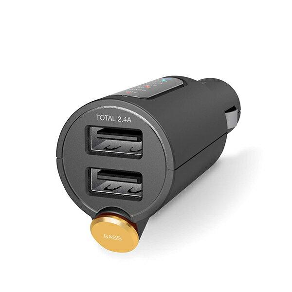 エレコム FM トランスミッター 高音質 重低音 Bluetooth USB×2ポート 2.4A おまかせ充電 1年間保証 ブラック LAT-FMBTB03BK FMトランスミッター / USB2ポート付 重低音モード付 / 4チャンネル / 【 あす楽 】 ELECOM画像
