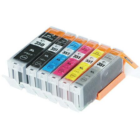 BCI-351XL+350XL / 6MP キャノン 【 互換インクカートリッジ 】 黒1個追加! 大容量 残量表示機能付 【 3年保証 即日出荷 】 内容 ( BCI-350XLPGBK BCI-351XLBK BCI-351XLC BCI-351XLM BCI-351XLY BCI-351XLGY 各1個+BK1個 ) CANON comp.ink