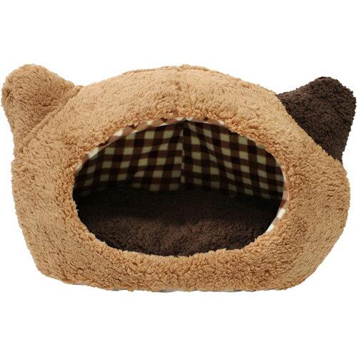 【数量限定】ぬくふかハウス 猫型 M ブラウン/ブラウンチェック NN-93  ベッド・マット(猫用)  ※商品は1点(個)の価格になります。