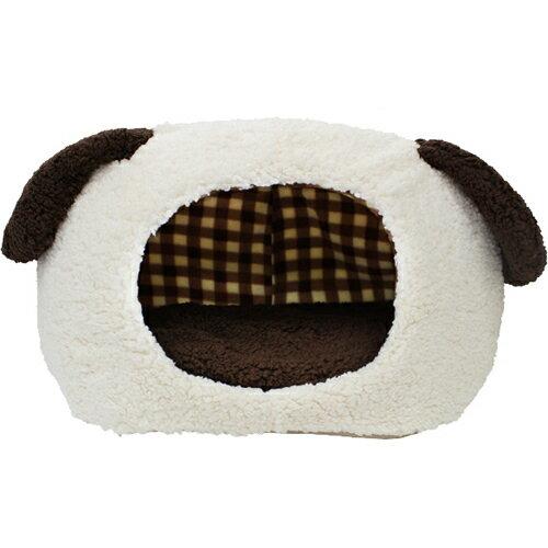 【数量限定】ぬくふかハウス 犬型 M クリーム/ブラウンチェック NN-95  ハウスベッド(犬用)  ※商品は1点(個)の価格になります。