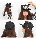 猫耳帽子/ベースボールキャップ黒neko mimi CAP/キュート/Free size(調節可能)猫耳 キャップ/...