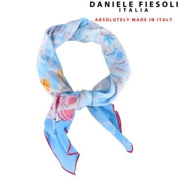 DANIELE FIESOLI ダニエレフィエゾーリ スカーフ メンズ シルク混 カフス柄 ブルー 青 並行輸入品 メンズファッション 男性用 ビジネス 日本未入荷 ラッピング無料 送料無料