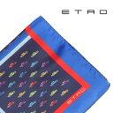ETRO(エトロ) ポケットチーフ 1T7104137 ネイビー x レッド 【A21514】