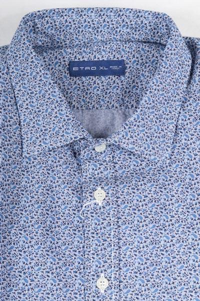 【XL】 ETRO エトロ 長袖シャツ メンズ ブルー 青 並行輸入品 メンズファッション 男性用 ビジネス カジュアルシャツ 日本未入荷 ラッピング無料