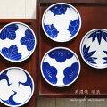 染付け四寸皿小紋(松/竹/梅/鶴/亀)美濃焼瑞浪磁器小皿取皿