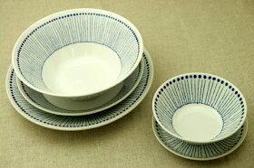 蒼十草(そうとくさ)24cm大皿青と白の反らし型8.0皿ストライプディナープレートカレー皿パスタプレート和食器日本製カネ定蒼の器