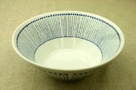蒼十草(そうとくさ)麺鉢青と白の反らし型7.0鉢ストライプ大鉢ラーメン鉢丼ボウル和食器日本製カネ定蒼の器