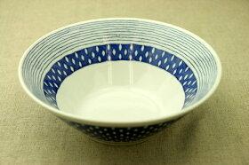 蒼露(そうろ)麺鉢青と白の反らし型7.0鉢ドロップボーダー大鉢ラーメン鉢丼どんぶり和食器日本製カネ定蒼の器