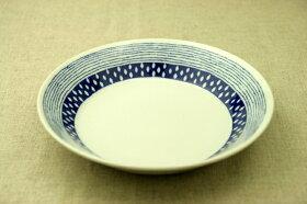 蒼露(そうろ)21cm深皿青と白の反らし型6.3深皿ドロップボーダー七宝カレー皿パスタプレート和食器日本製カネ定蒼の器