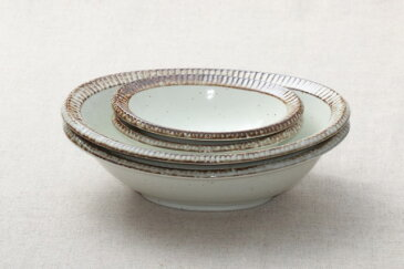 渕錆粉引 楕円鉢 大小2サイズペアセット 楕円大鉢・楕円小鉢各2個計4個セット うちカフェスタイル 日本製