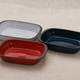 スタック長角グラタン皿 フレンチグリル レッド/ホワイト/ブルー 一人用 耐熱食器 陶器 オーブン料理 おしゃれ 日本製 美濃焼 カフェ風 耐熱皿 スタッキング