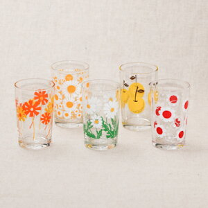 アデリアレトロ グラス 5個セット 中コップ8 可愛い花柄 5柄 ガラスタンブラー 箱入り 日本製 カフェ風 ガラス食器 アリス 野ばな 花まわし 花ざかり 梨 おうちカフェ コップ ギフトセット