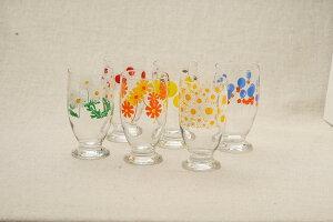 アデリアレトロ 台付きグラス 可愛い花柄 6柄 ガラスタンブラー パフェグラス クリームソーダ 日本製 カフェ風 ガラス食器 アリス 野ばな 花まわし 花ざかり 梨 風船 おうちカフェコップ