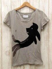 ツモリチサト カットソー Tシャツ ラメ 猫 ネコ プリント フレンチスリーブ グレーベージュ系 2...