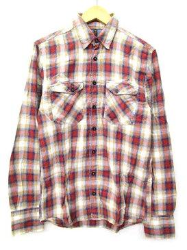 ヌーディージーンズ nudie jeans チェック シャツ 長袖 コットン ワークシャツ トップス XS 赤 レッド S75965 メンズ 【中古】【ベクトル 古着】 170815 ブランド古着ベクトルプレミアム店