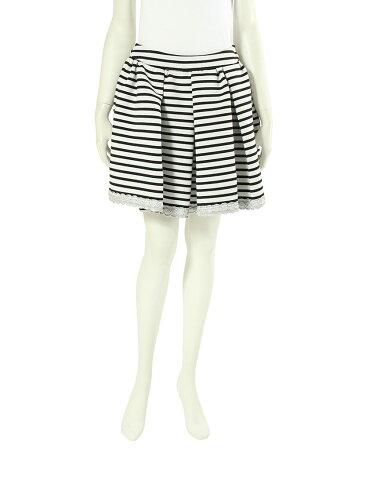ドレスキャンプ DRESSCAMP スウェット ボーダー柄 ギャザーミニスカート ボトムス 36 (M) コットン 白 黒 レディース 【ベクトル 古着】【中古】